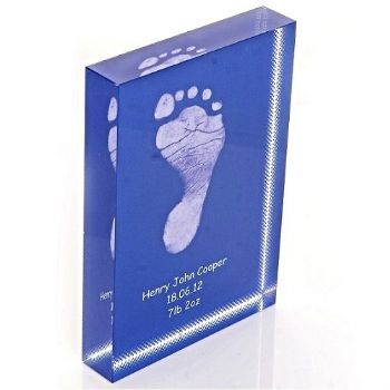 Baby Hand Or Foot Print Crystal Block - Baby Keepsake Gift